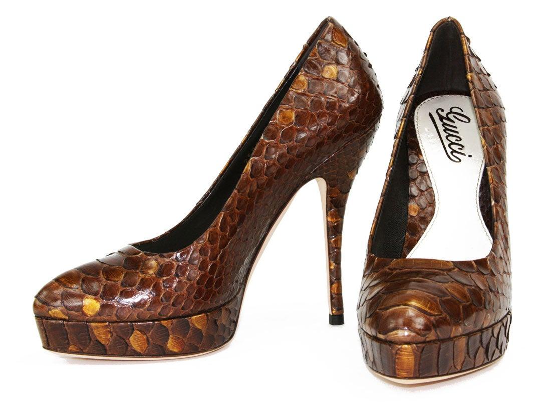 493380cc77c New Gucci Python Amber Platform Pumps Shoes It. 36 - US 6 For Sale at  1stdibs