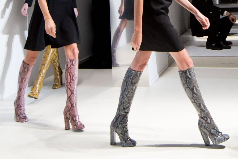 Gray New GUCCI Campaign $3500 PYTHON Horsebit Knee High Boot Aquamarine It 37  US 7.5