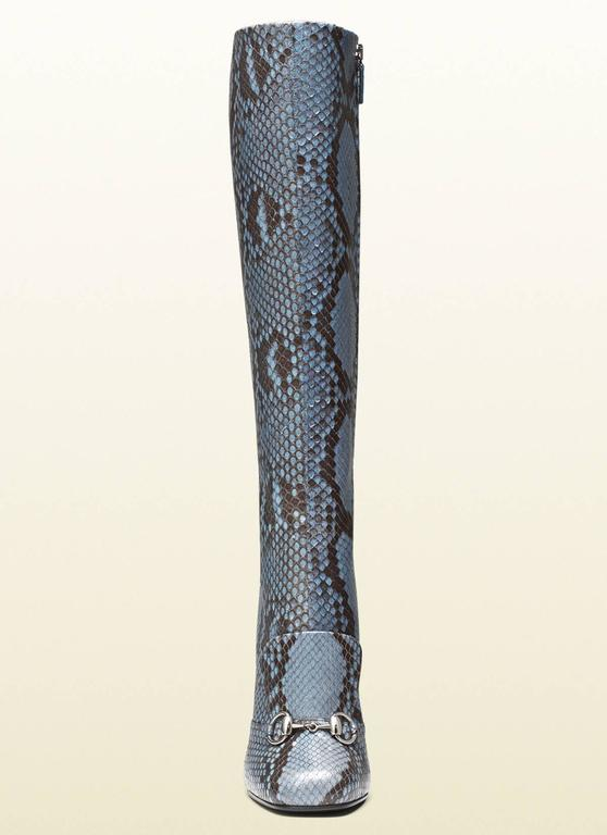 Women's New GUCCI Campaign $3500 PYTHON Horsebit Knee High Boot Aquamarine It 37  US 7.5