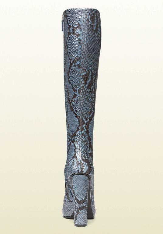 New GUCCI Campaign $3500 PYTHON Horsebit Knee High Boot Aquamarine It 37  US 7.5 1