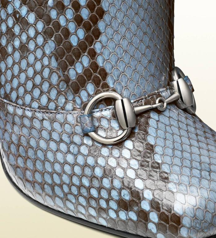 New GUCCI Campaign $3500 PYTHON Horsebit Knee High Boot Aquamarine It 37  US 7.5 3