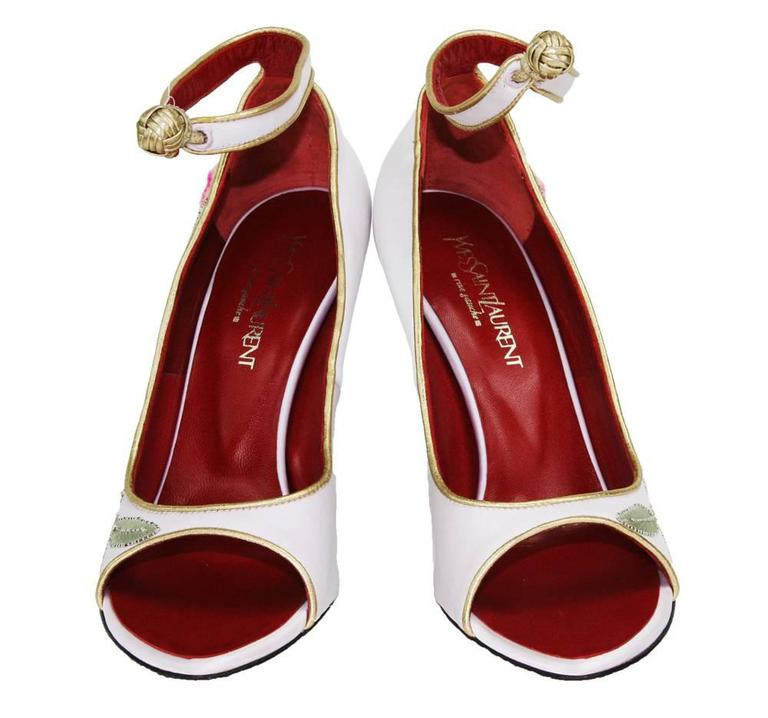 New Tom Ford for Yves Saint Laurent 2004 Collection Embroidered Pumps 36.5-  6.5 3