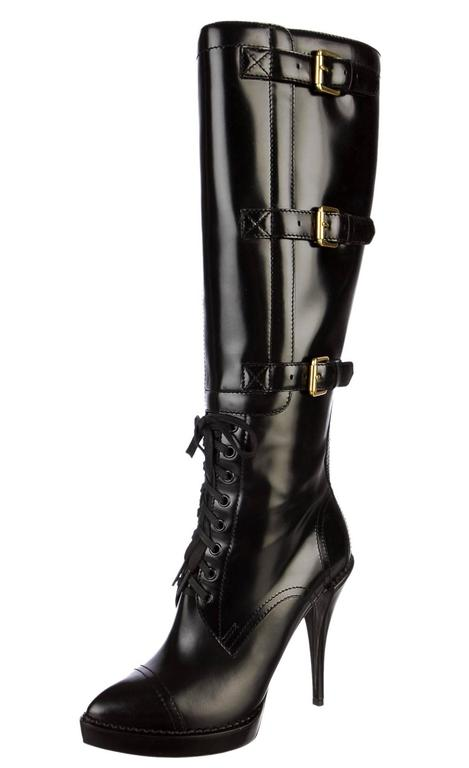 b1ef940c34c New GUCCI Riddle Leather Lace-Up Buckle Platform Black Boots It.38.5 - US