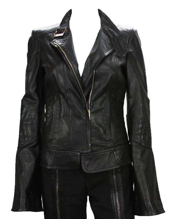 New TOM FORD for GUCCI 2004 Collection Leather Chevron Black Jacket It 40 - US 4 2