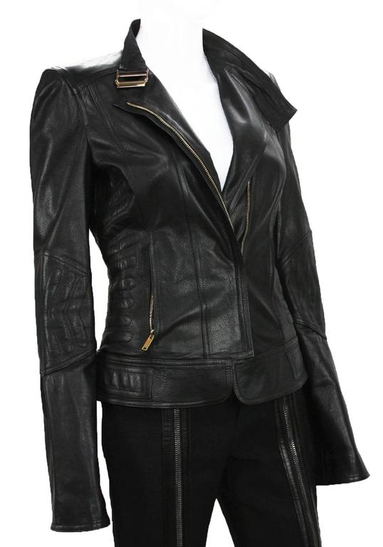 New TOM FORD for GUCCI 2004 Collection Leather Chevron Black Jacket It 40 - US 4 4
