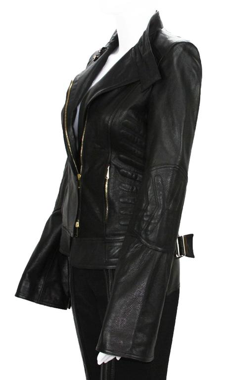New TOM FORD for GUCCI 2004 Collection Leather Chevron Black Jacket It 40 - US 4 6