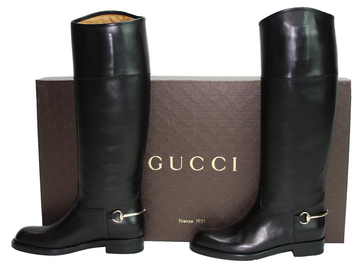 d7b7bbcbd New GUCCI Riding Leather Horsebit Detail Tall Flat Black Boots It 36.5 - US  6.5 at 1stdibs