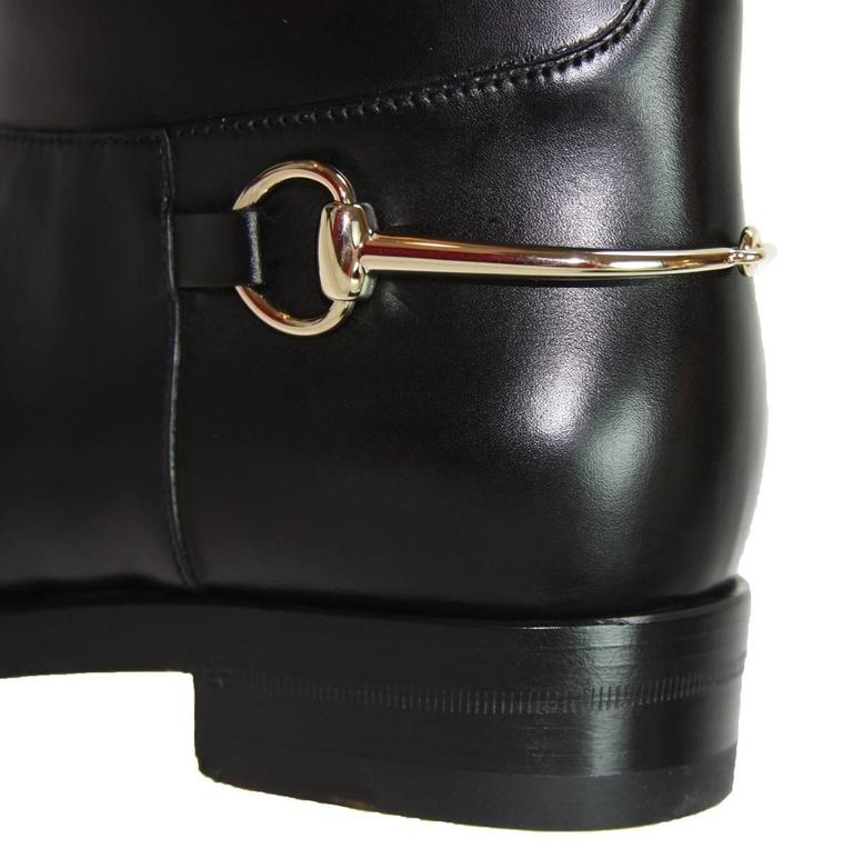 c7e7d703d New GUCCI Riding Leather Horsebit Detail Tall Flat Black Boots It 36.5 - US  6.5 In