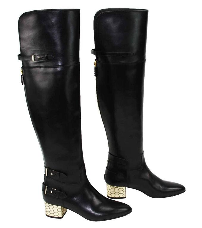 New Roberto Cavalli Over-the-knee Leather Boots Honeycomb Pattern Heel 36.5, 37 2