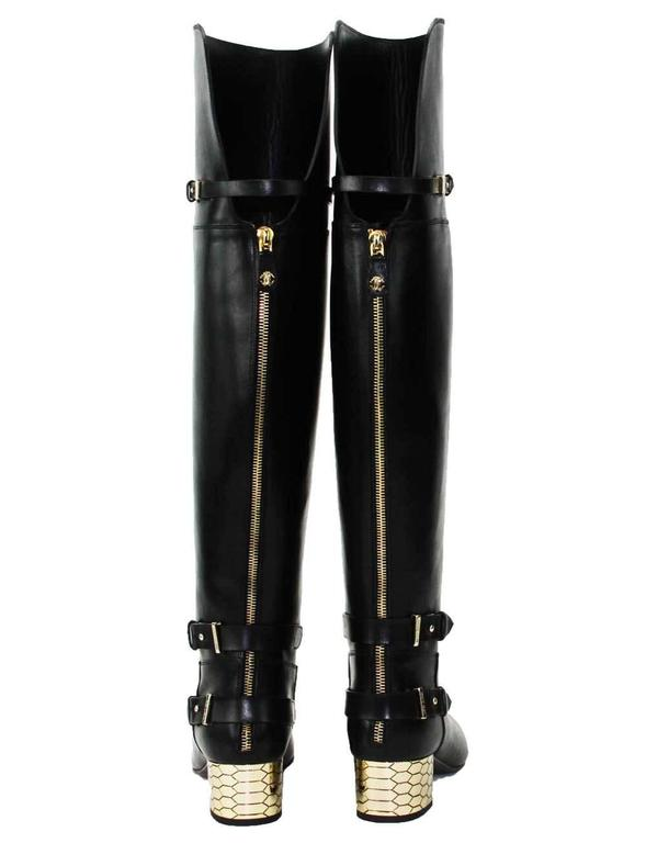 New Roberto Cavalli Over-the-knee Leather Boots Honeycomb Pattern Heel 36.5, 37 3