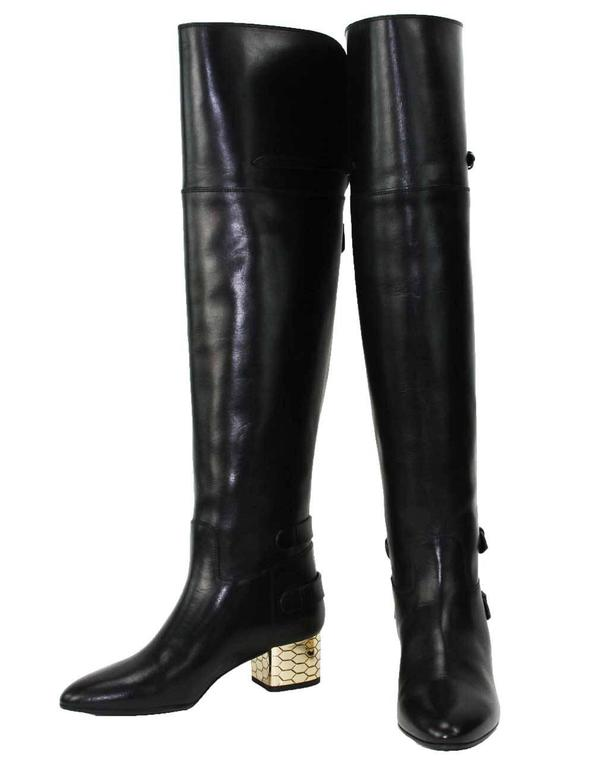 New Roberto Cavalli Over-the-knee Leather Boots Honeycomb Pattern Heel 36.5, 37 4