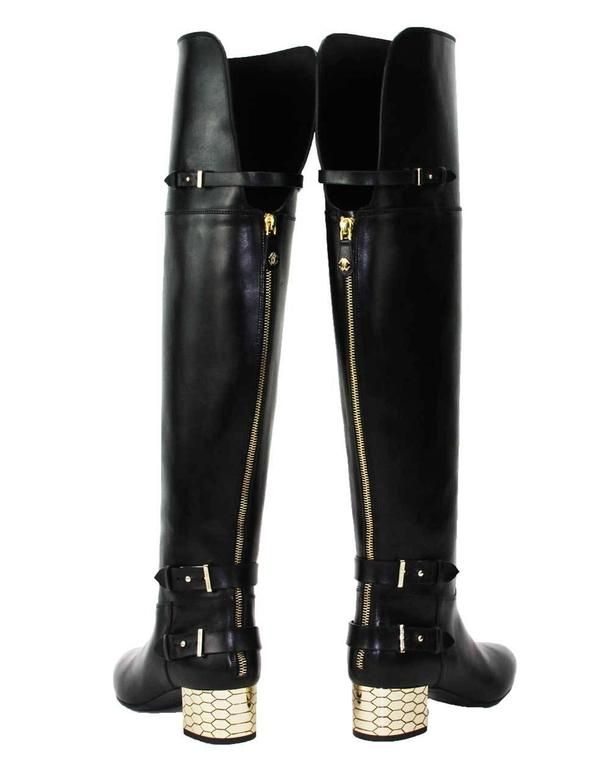 New Roberto Cavalli Over-the-knee Leather Boots Honeycomb Pattern Heel 36.5, 37 5