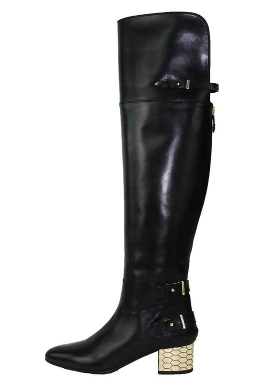 New Roberto Cavalli Over-the-knee Leather Boots Honeycomb Pattern Heel 36.5, 37 6