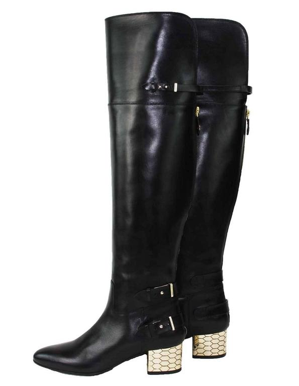 New Roberto Cavalli Over-the-knee Leather Boots Honeycomb Pattern Heel 36.5, 37 7