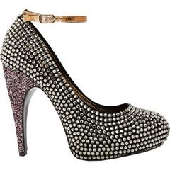 New $3315 LANVIN Campaign Crystal Embellished Platform Pumps It. 38 - US 8