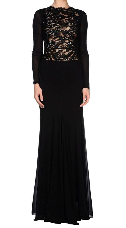 New EMILIO PUCCI Embellished Black Lace Jersey Dress Gown It 40 - US 4 In New Condition For Sale In Montgomery, TX