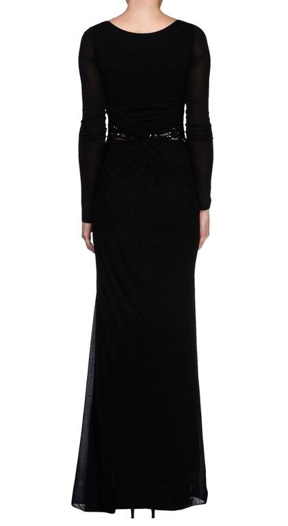 Women's New EMILIO PUCCI Embellished Black Lace Jersey Dress Gown It 40 - US 4 For Sale