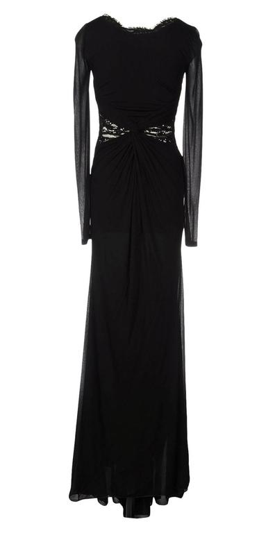 New EMILIO PUCCI Embellished Black Lace Jersey Dress Gown It 40 - US 4 For Sale 1