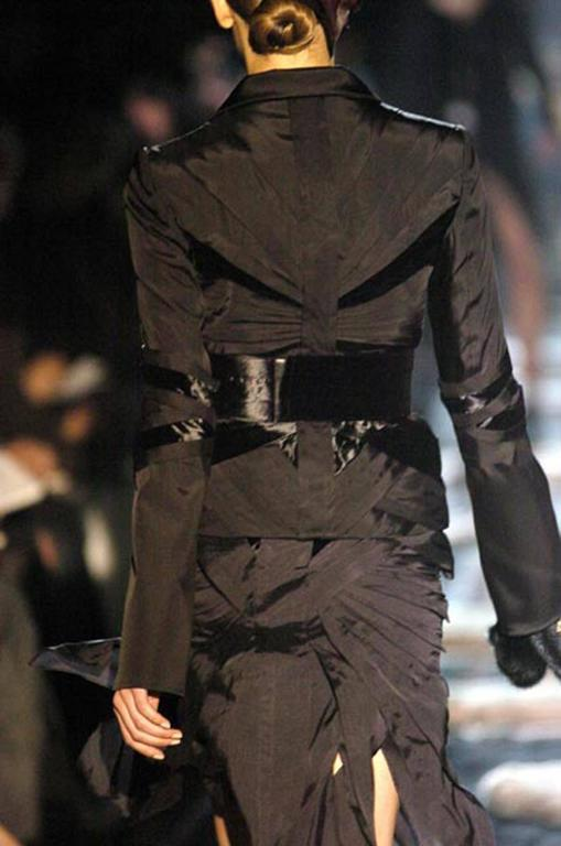GUCCI by TOM FORD 2004 Collection Black Silk Taffeta Velvet Jacket size S 3