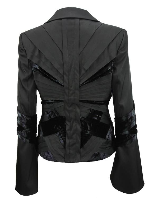 GUCCI by TOM FORD 2004 Collection Black Silk Taffeta Velvet Jacket size S 6