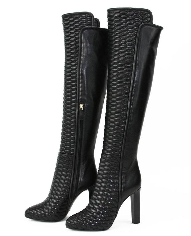 New Roberto Cavalli Textured Black Leather Over the Knee Boots It. 37 - US 7 2