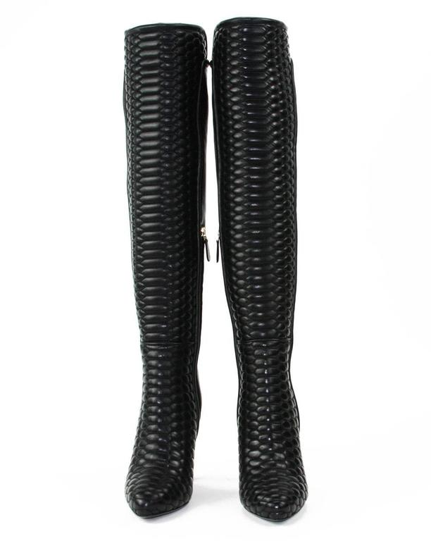 New Roberto Cavalli Textured Black Leather Over the Knee Boots It. 37 - US 7 3