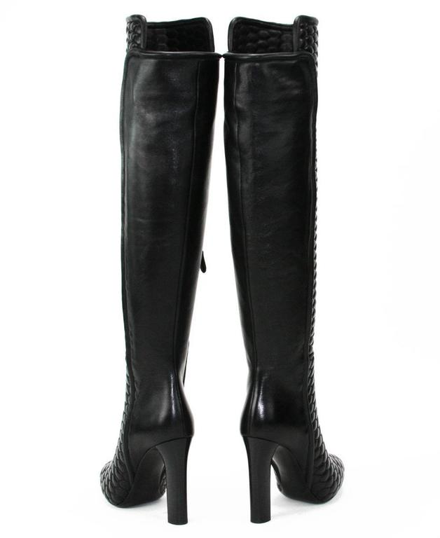 New Roberto Cavalli Textured Black Leather Over the Knee Boots It. 37 - US 7 4