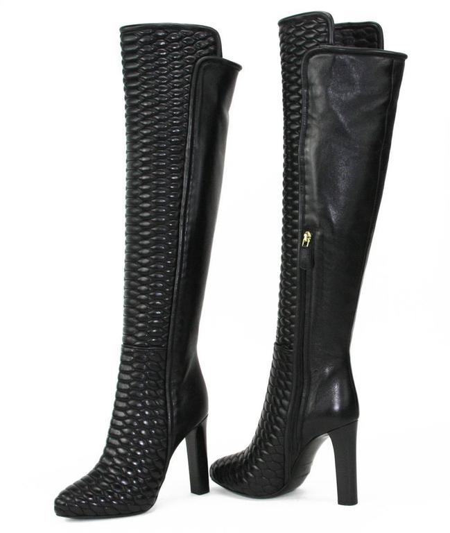 New Roberto Cavalli Textured Black Leather Over the Knee Boots It. 37 - US 7 5