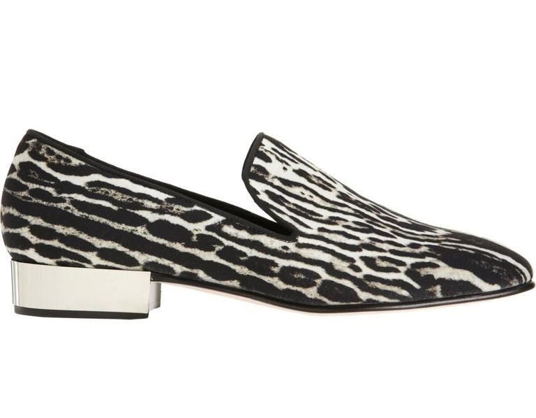 New GIAMBATTISTA VALLI Women's Loafers Italian size 39.5 - US 9.5 Composition – Waterproof Canvas Color - Ocelot Silver-tone Metallic Heel - 1 inch (2.5 cm) Leather Sole and Insole Retail $865.00 Made in Italy New with Box.