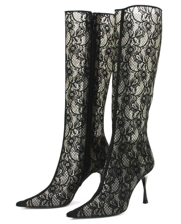 New CASADEI Lace Black Twisted Heel Boots size 9 In New never worn Condition For Sale In Montgomery, TX