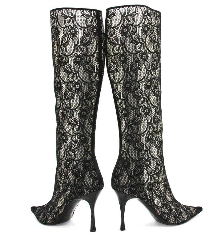 Women's New CASADEI Lace Black Twisted Heel Boots size 9 For Sale