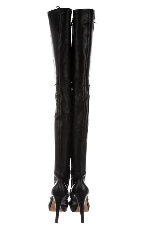 dabebe145a2 New ETRO Leather Lace-up Thigh-High Platform Black Hell Boots It.39 - US 9