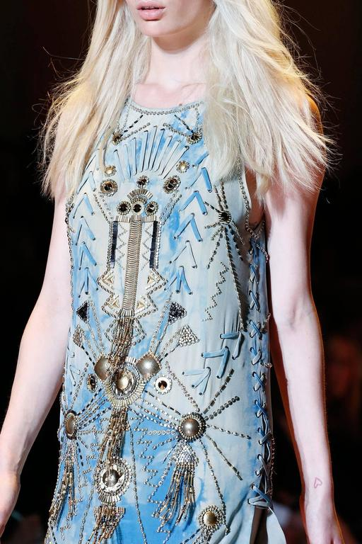 Gray New Versace Sexy Fully Studded Beaded Watercolor Mini Silk Dress It.38 For Sale
