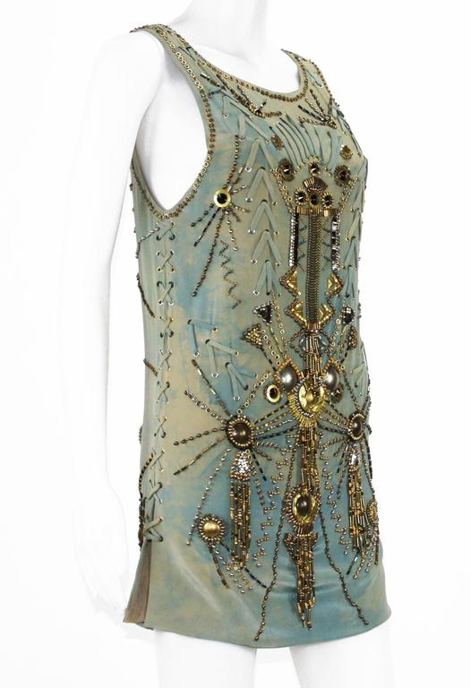 New Versace Sexy Fully Studded Beaded Watercolor Mini Silk Dress It.38 In New never worn Condition For Sale In Montgomery, TX