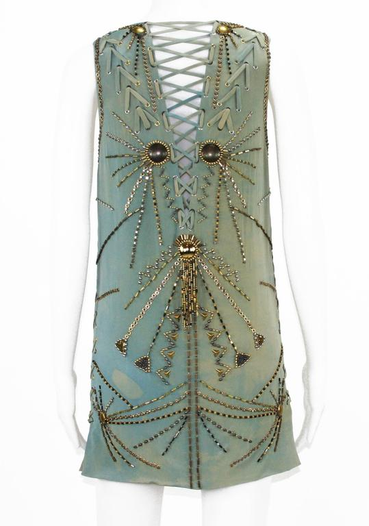 Women's New Versace Sexy Fully Studded Beaded Watercolor Mini Silk Dress It.38 For Sale