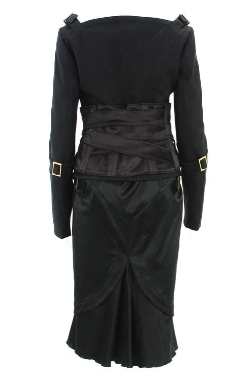 TOM FORD for GUCCI F/W 2003 Black Jacket + Skirt + Belt SUIT It. 44 - US 8 4