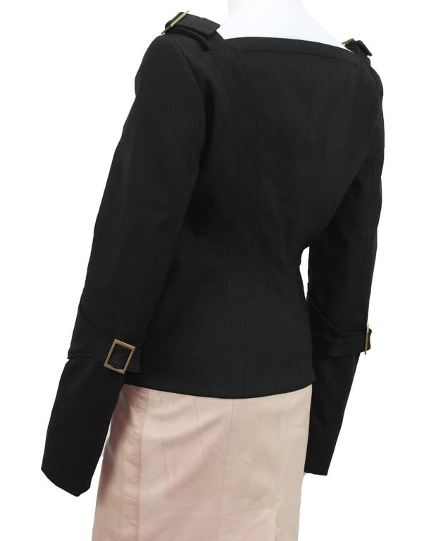 TOM FORD for GUCCI F/W 2003 Black Jacket + Skirt + Belt SUIT It. 44 - US 8 6