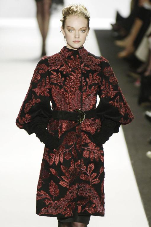 Oscar de la Renta Runway F/W 2006 Collection Fur Wool Coat size 6 2