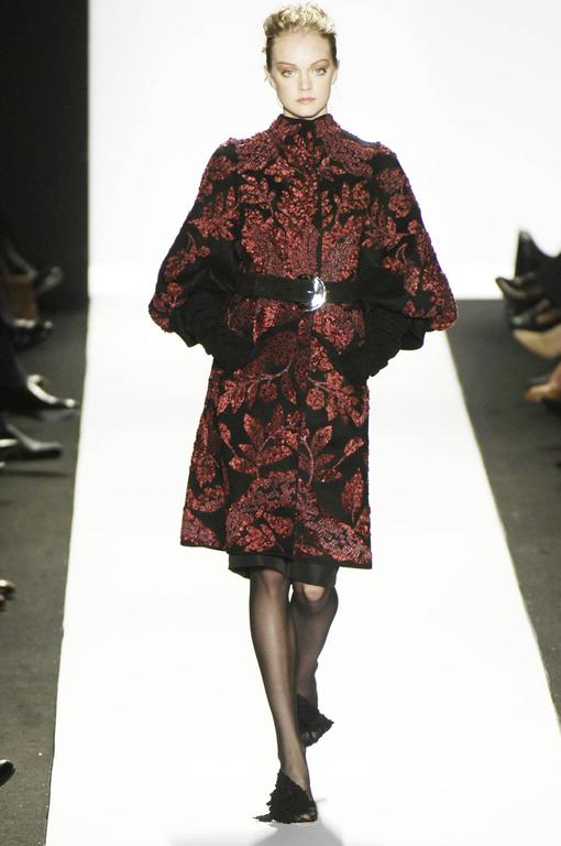 Oscar de la Renta Runway F/W 2006 Collection Fur Wool Coat size 6 4