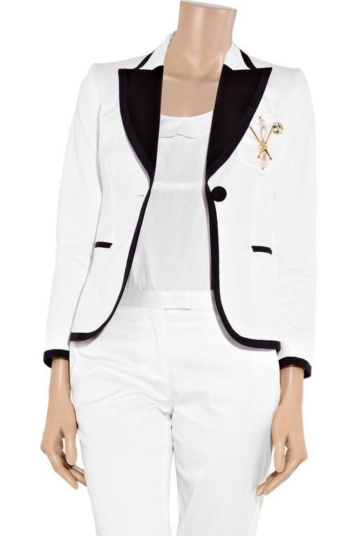 New 1720 Moschino White Navy Crystals Pearl Embellished Blazer