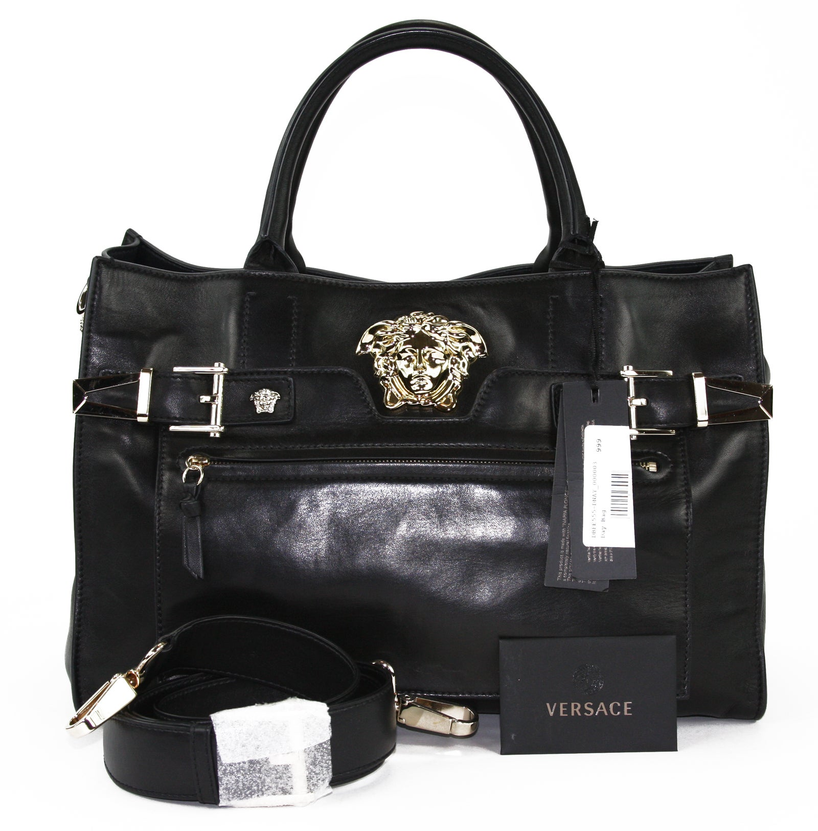 4d05132d94 New Versace Palazzo Large Black Leather Shoulder Bag Handbag at 1stdibs