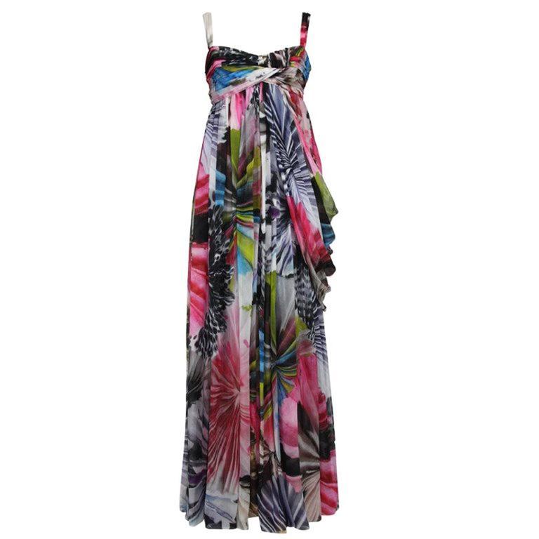 New Matthew Williamson Silk Flowers Printed Dress Gown US 12