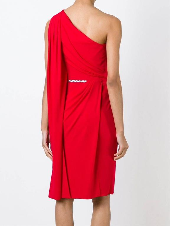 New VERSACE One Shoulder Red Jersey Cocktail Crystal Embellished Dress It 42 In New Condition For Sale In Montgomery, TX