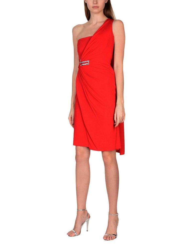 New VERSACE One Shoulder Red Jersey Cocktail Crystal Embellished Dress It 42 For Sale 1
