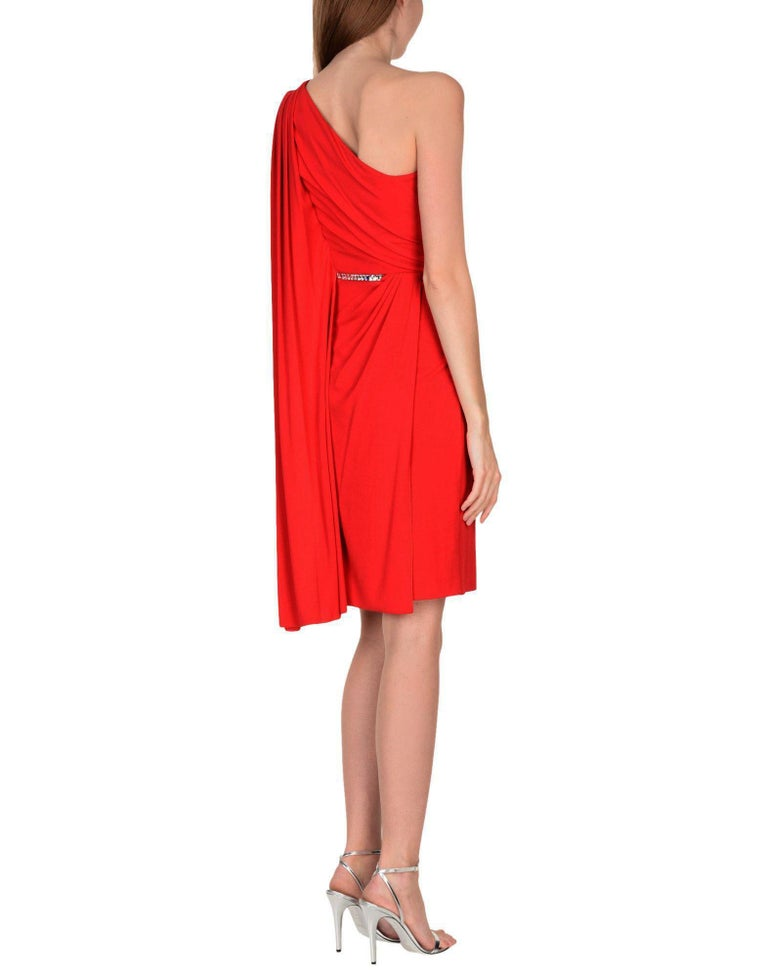 New VERSACE One Shoulder Red Jersey Cocktail Crystal Embellished Dress It 42 For Sale 2