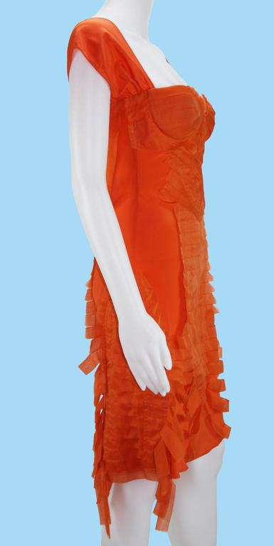 8b7863acf1e Tom Ford for Gucci S S 2004 Collection Silk Orange Cocktail Stretch Dress  It 42