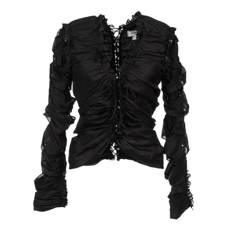 TOM FORD for YVES SAINT LAURENT Black Lace-Up Top Fr.38 - US 6