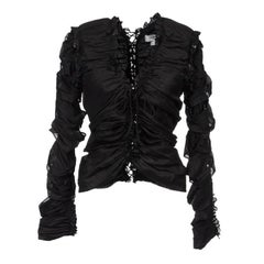 TOM FORD for YVES SAINT LAURENT F/W 2001 Black Lace-Up Top Fr. 38 - US 4/6