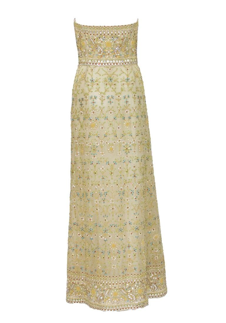 Oscar de la Renta S/S 2003 Fully Beaded Dazzling Champagne Gown US 4 3
