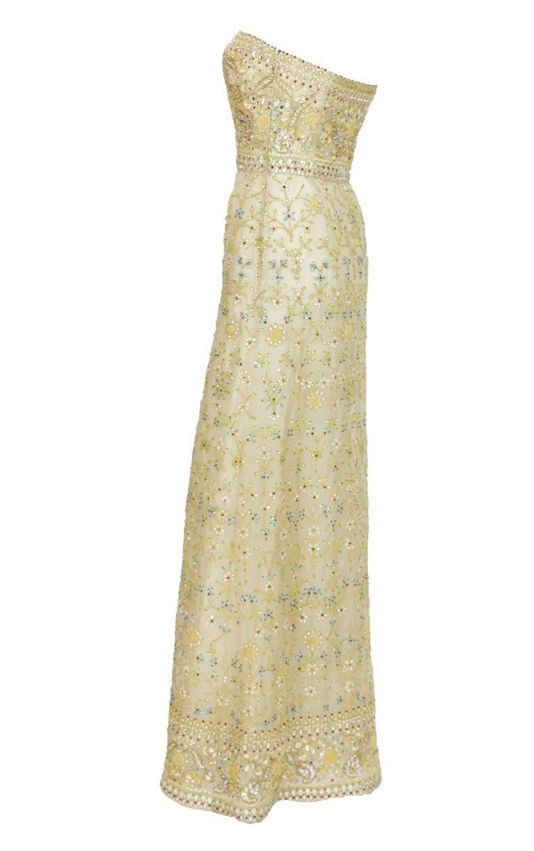 Oscar de la Renta S/S 2003 Fully Beaded Dazzling Champagne Gown US 4 4